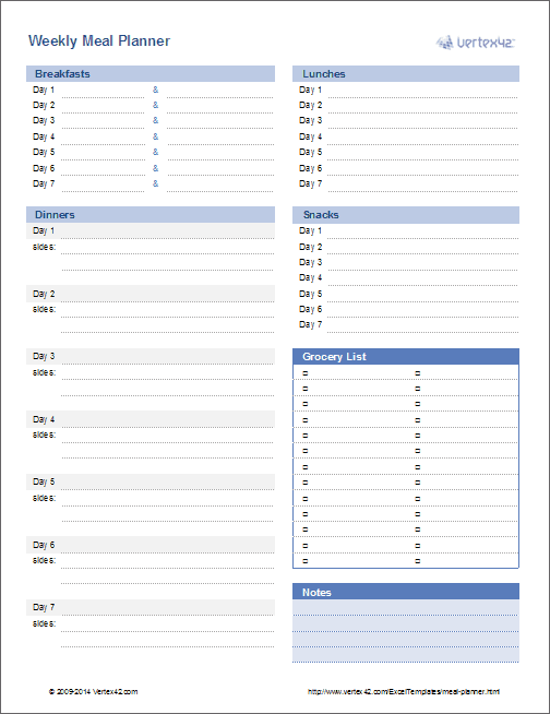 camping menu planner template - meal planner weekly menu planner template