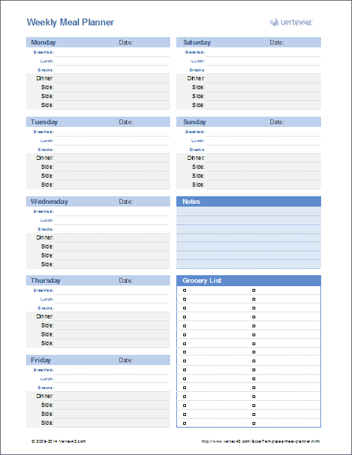 Meal Planner and Menu Planner Templates